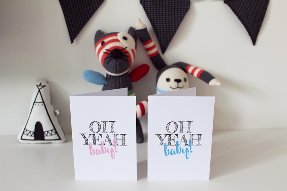 gratis oh yeah baby printable geboorte zwangerschap kaart