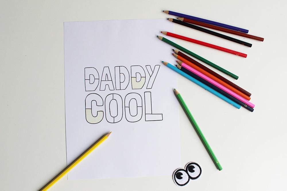 'Daddy cool' Vaderdag kleurplaat – waarmee je ook heel simpel een cadeautje maakt