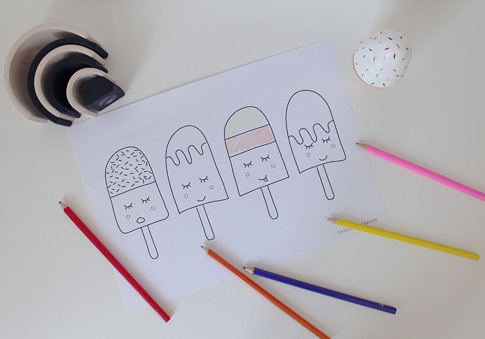 kleurplaat ijsjes gratis printable kinderen