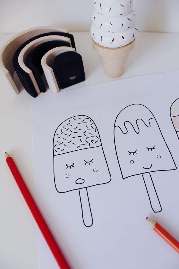 kleurplaat ijsjes grimms regenboog houten ijsje
