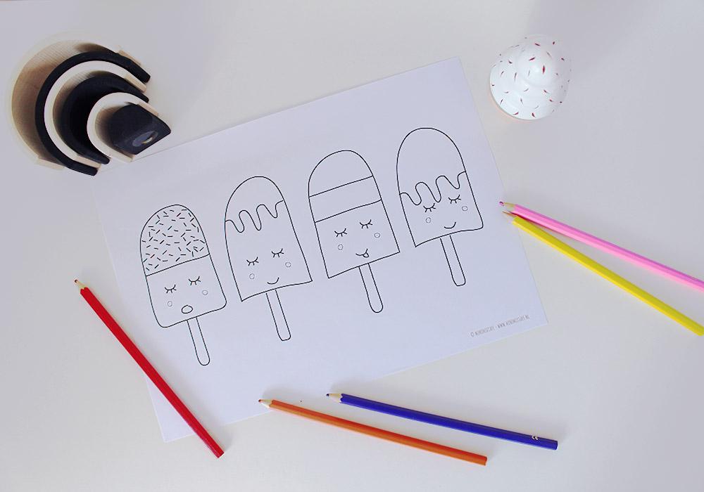 kleurplaat ijsjes printable