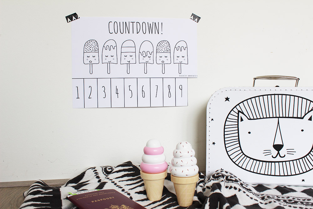 printable vakantiekalender aftelkalender ijsjes