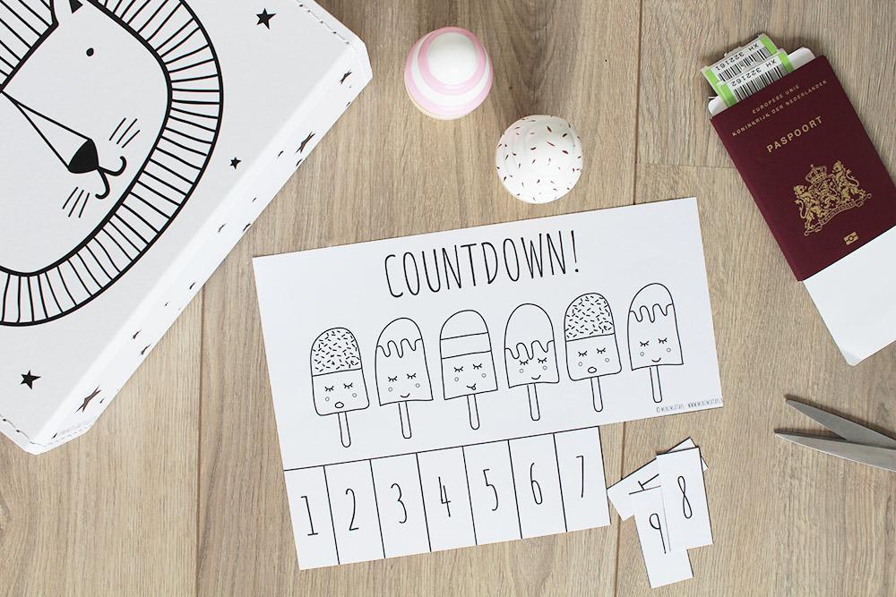 vakantie kinderen aftellen aftelkalender printable