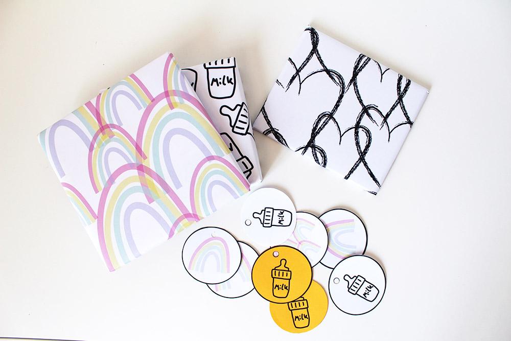 Regenboog printables om cadeautjes mee in te pakken