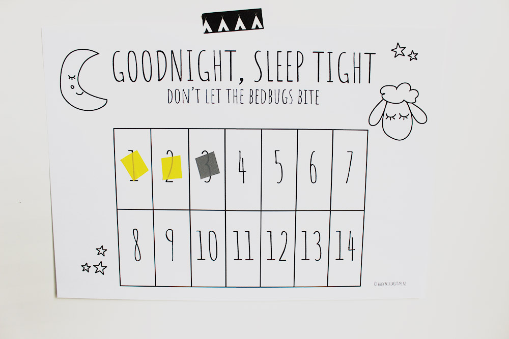 printable beloningskalender doorslapen slapen leuke tekeningen