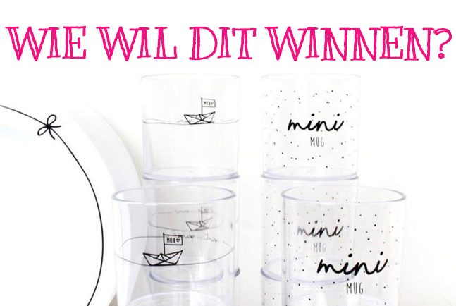 Winactie Mint and Mini monochrome kinderservies