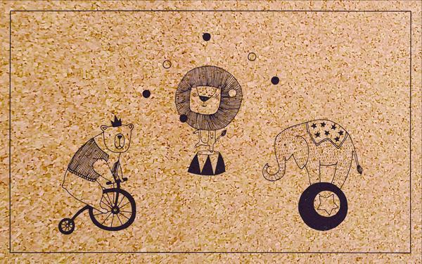 vloerkleed met tekeningen kurk circus speelkeed