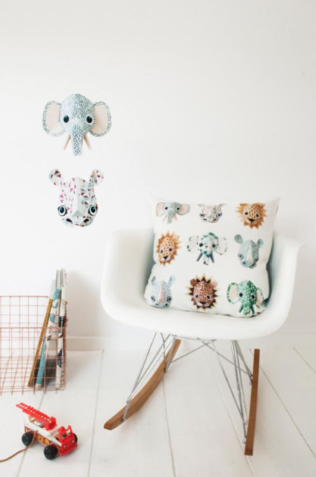 Muurstickers dierenkoppen Studio Ditte olifant neurshoorn