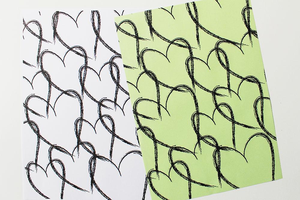 cadeaupapier hartjesprint gekleurd papier printable