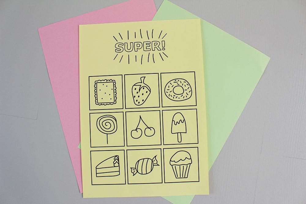 printable beloningskaart versieren knutselen gekleurd papier