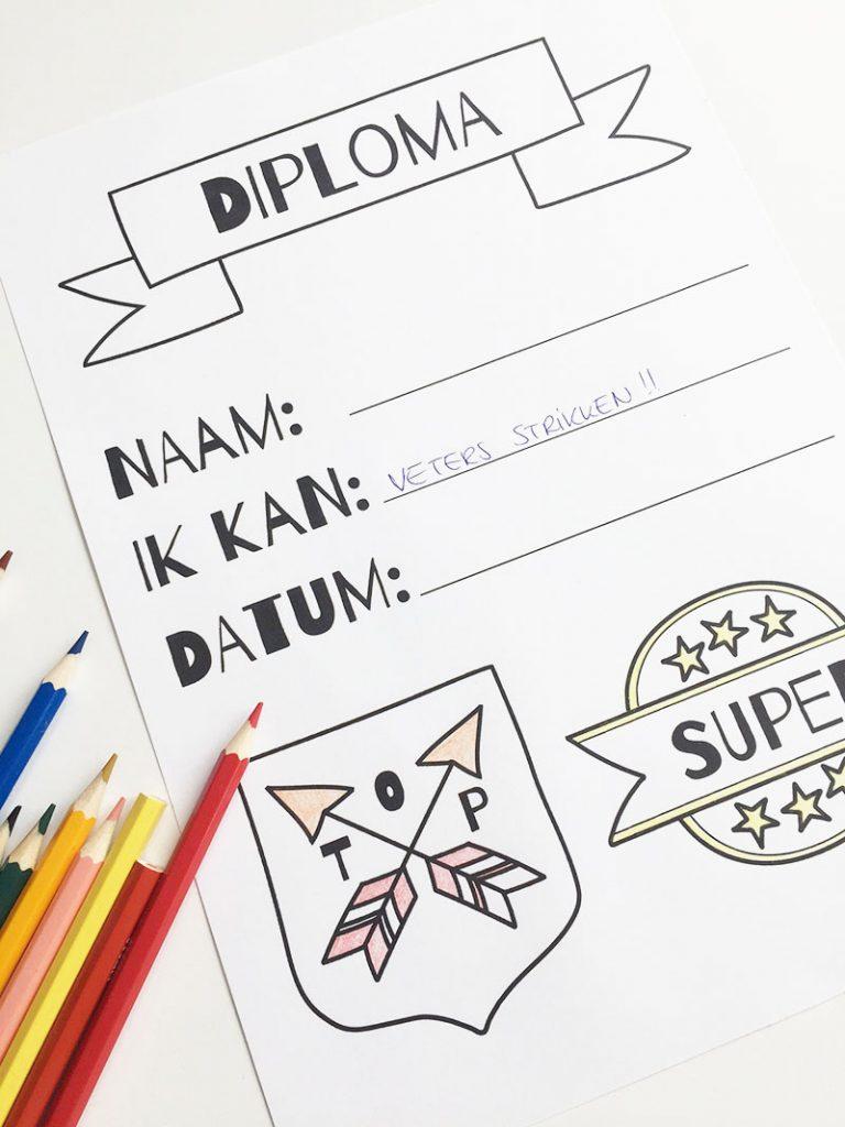 printbaar diploma zelf printen veterstrikdiploma zwemdiploma potje plassen zindelijk