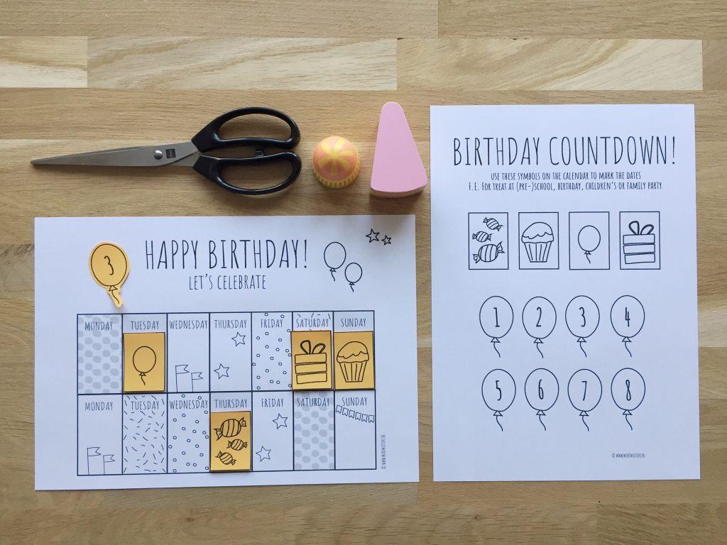 printable verjaardagskalender Engelstalig