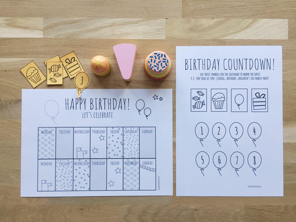 printable aftelkalender verjaardag Engelstalig