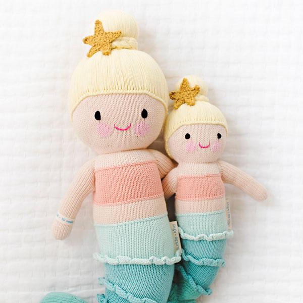 cuddle+kind knuffelpop zeemeermin handgebreid