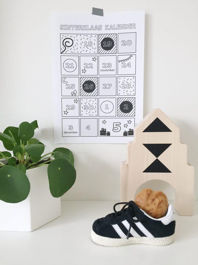 sinterklaas schoenzetkalender gratis printable