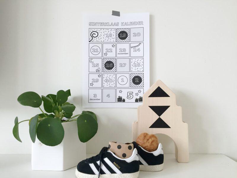 Sinterklaas aftelkalender schoenzet kalender printable minimixtape