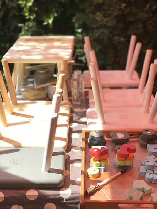 studio hout en wol handgemaakte kruk eigen naam