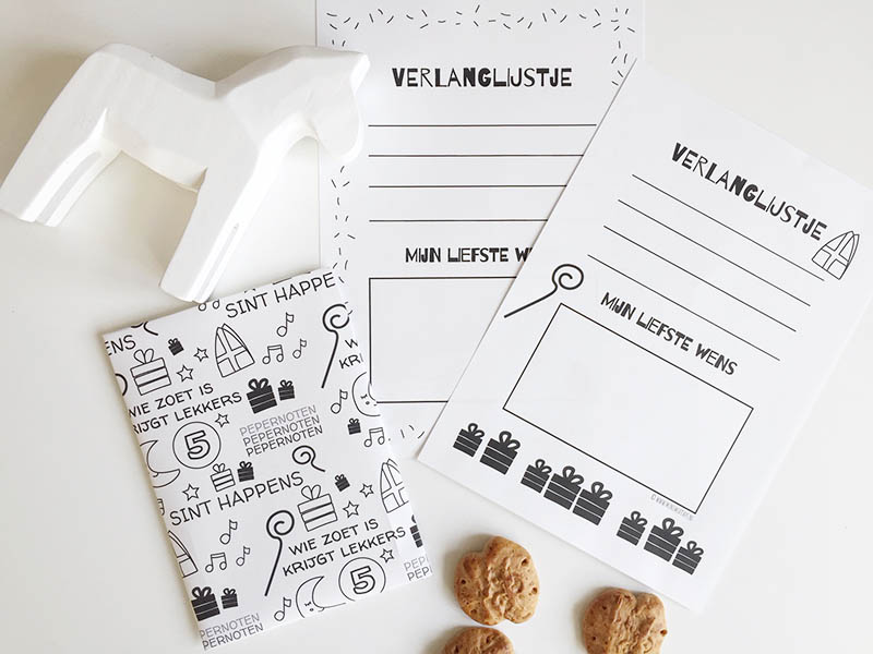 Gratis Sinterklaas printables: verlanglijstje én cadeaupapier voor 5 december