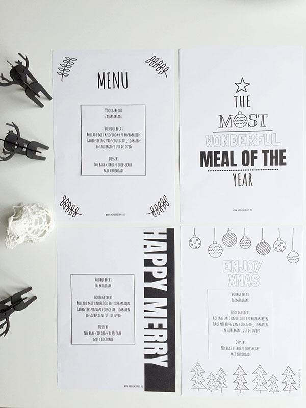 4 gratis printable menukaarten kerst