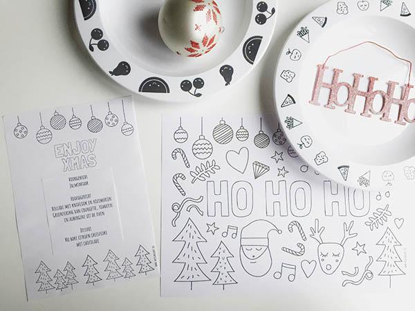 gratis menukaart printable kerstdiner