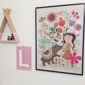 gepersonaliseerde kinderkamer poster roze meidenkamer stoer