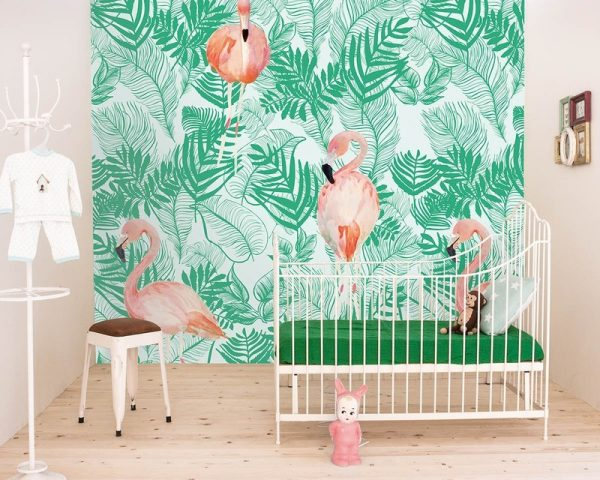 behang kinderkamer flamingo