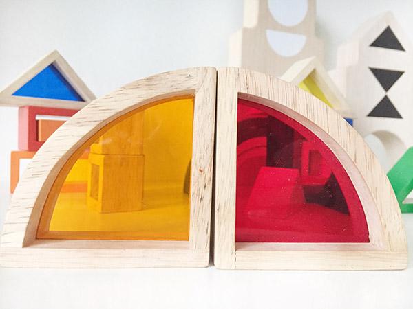 regenboogblokken hout met ramen goki blokkenset