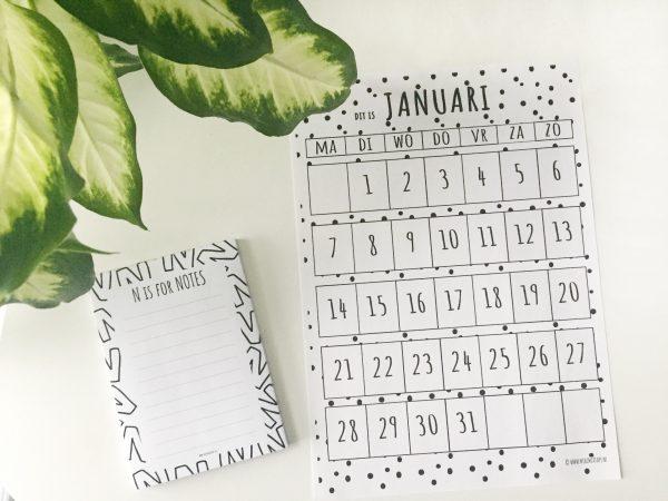 maandplanner januari 2019