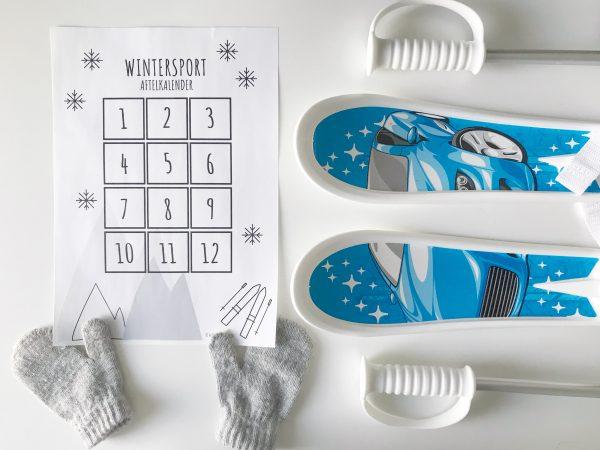 wintersport vakantie printable aftelkalender
