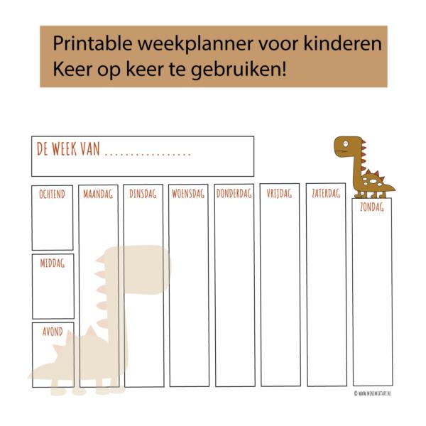 weekplanner voor kinderen met dino print