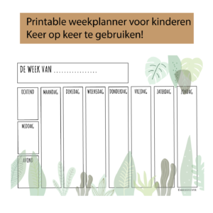 weekplanner voor kinderen met jungle print