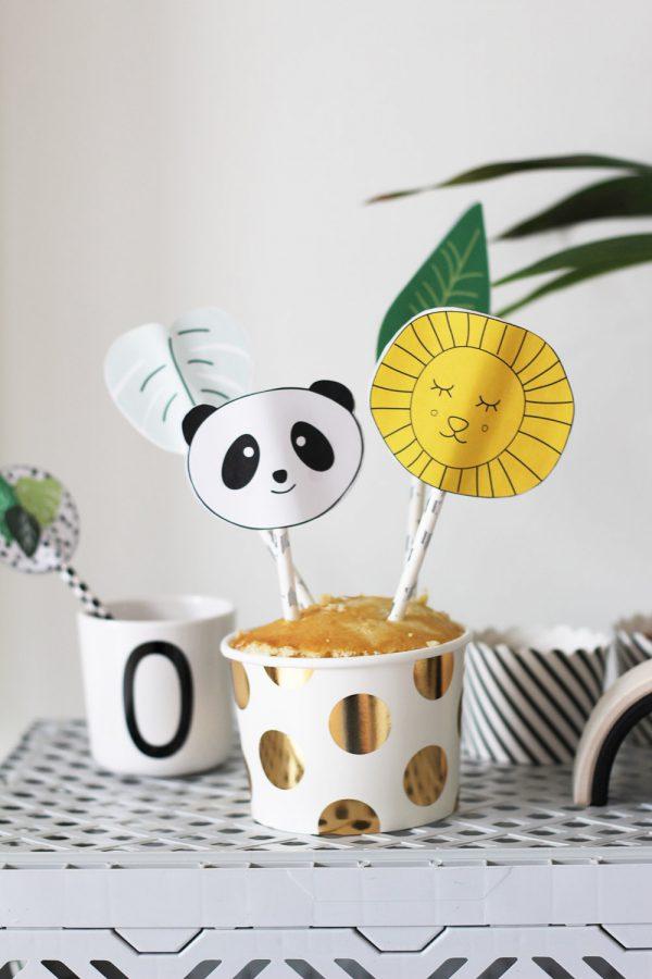 jungle taart maken met caketopper panda en leeuw printable