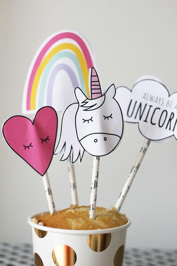 unicorn taart caketoppers