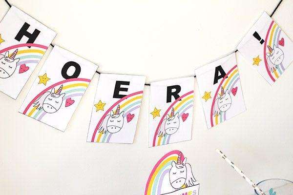 unicorn verjaardag decoratie printable vlaggenlijn