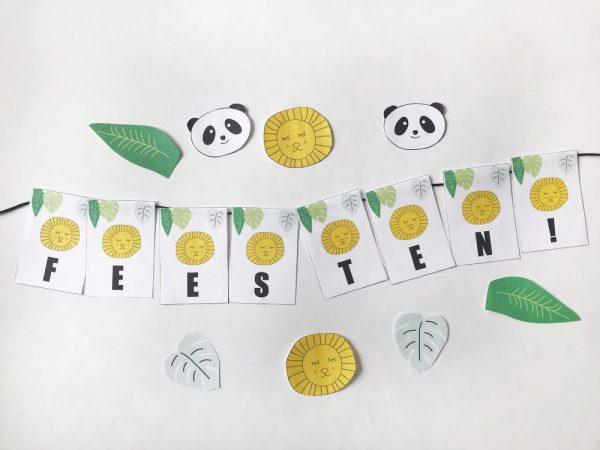printable vlaggenlijn thema leeuw verjaardag kind