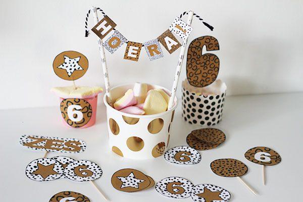 leopard luipaardprint kinderfeestje printable versiering