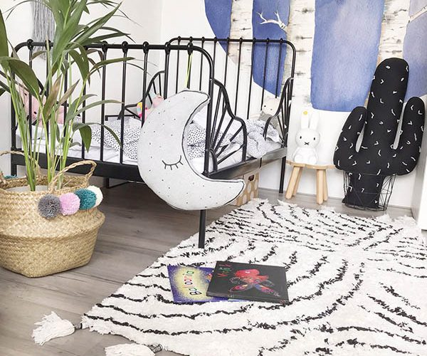 klein vloerkleed kinderkamer kidsdepot berber zwart wit
