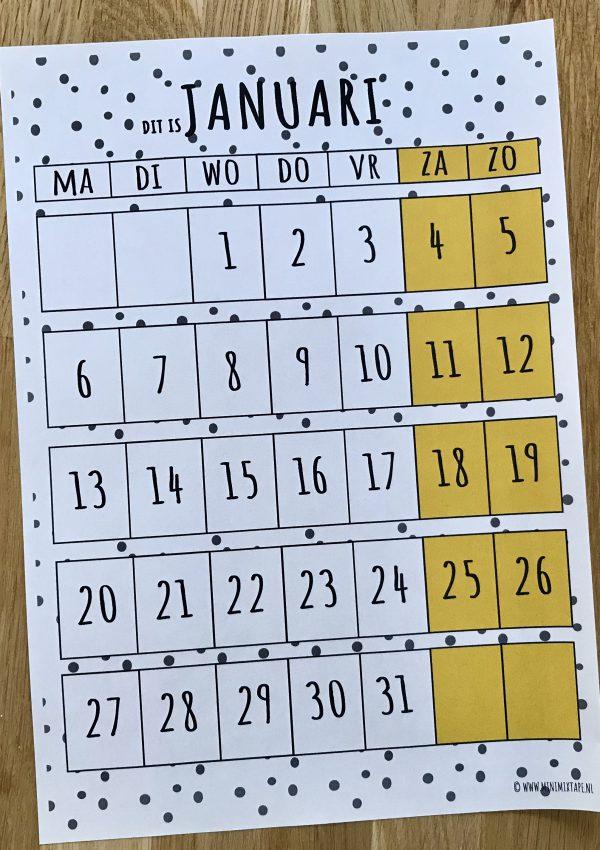 Januari printable maandplanner voor kinderen van structuurjunkies of chaos moms