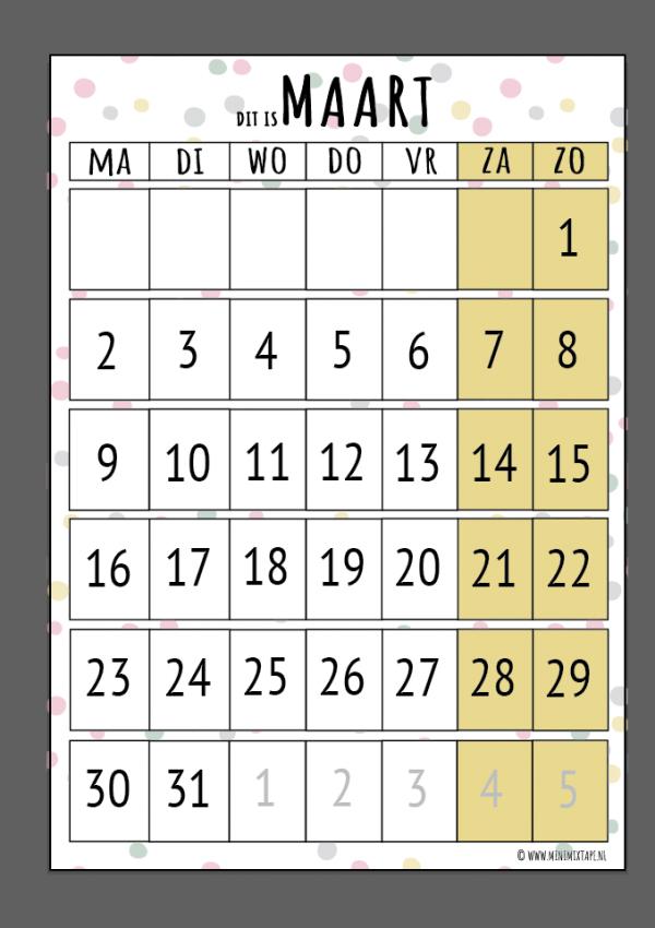 Maart printable maandplanner voor kinderen van structuurjunkies of chaos moms
