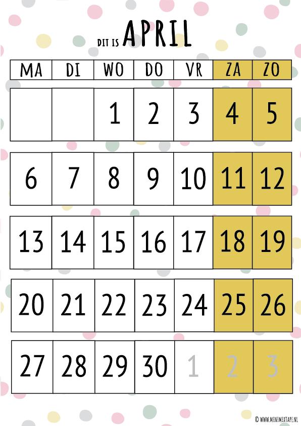 April printable maandplanner voor kinderen van structuurjunkies of chaos moms