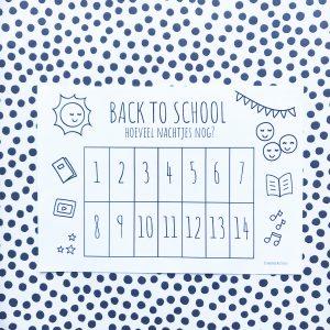 Printable back to school aftelkalender (gratis download)