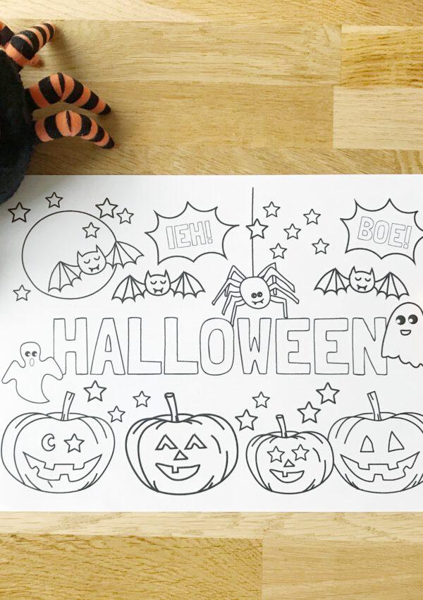 Griezelig gratis kleurplaat voor Halloween