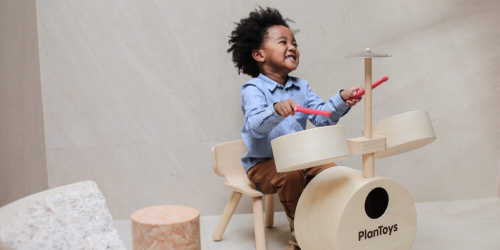 houten drumstel plan toys
