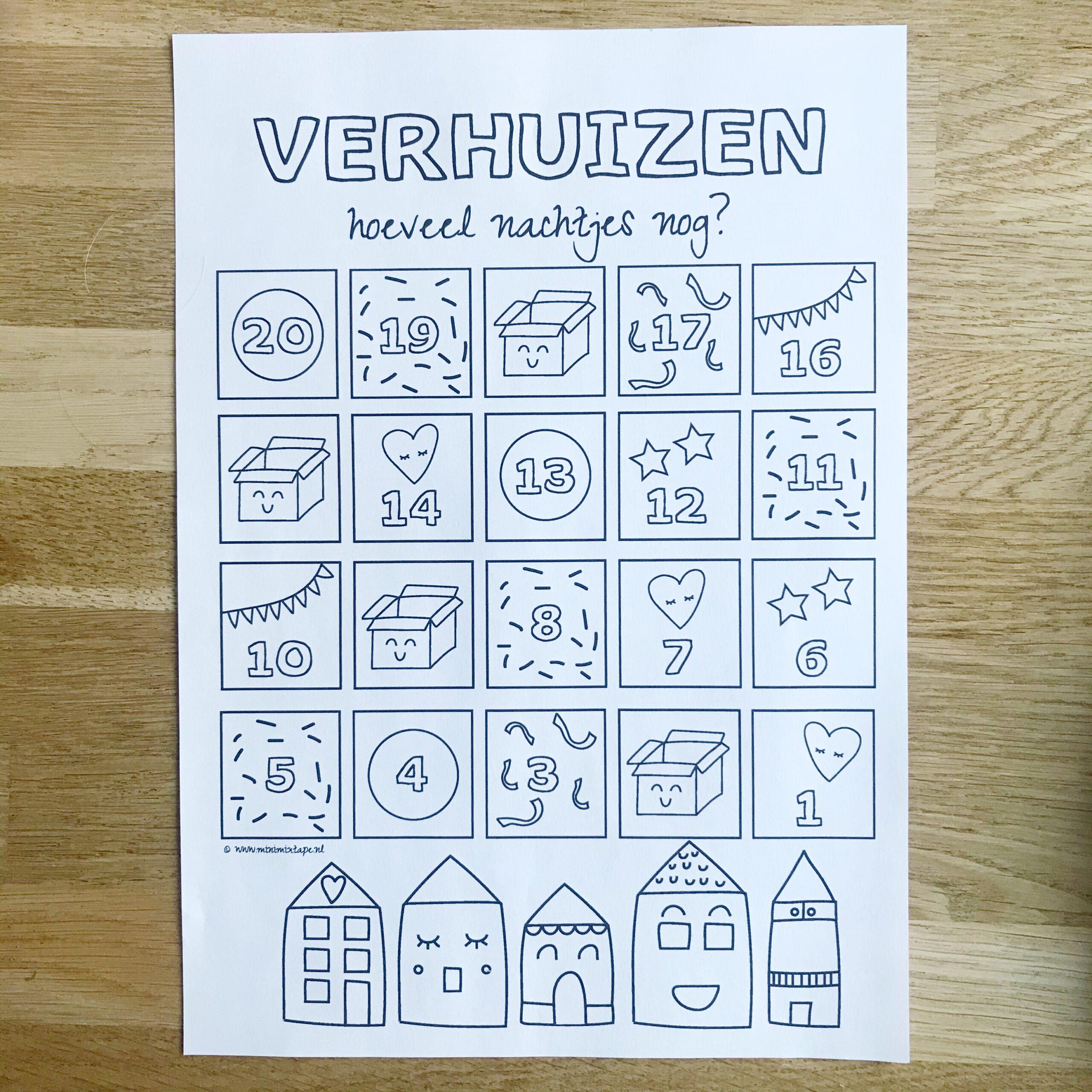 verhuizen met kinderen aftelkalender