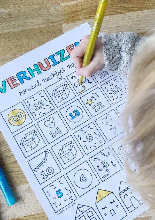 Gratis printable aftelkalender verhuizen voor duidelijkheid voor je kind