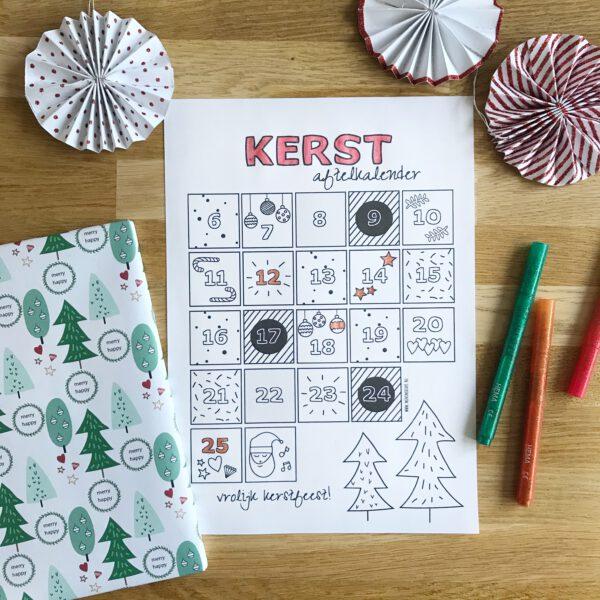 gratis printable aftelkalender kerst