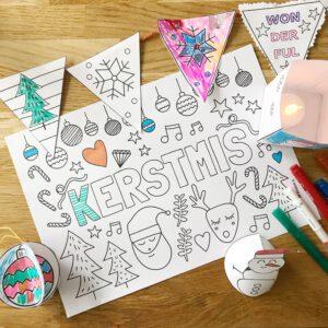 kerst printable kleurplaat