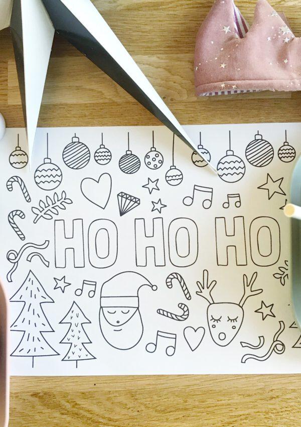 Kerst printable: kleurplaat of placemat voor tijdens het kerstdiner
