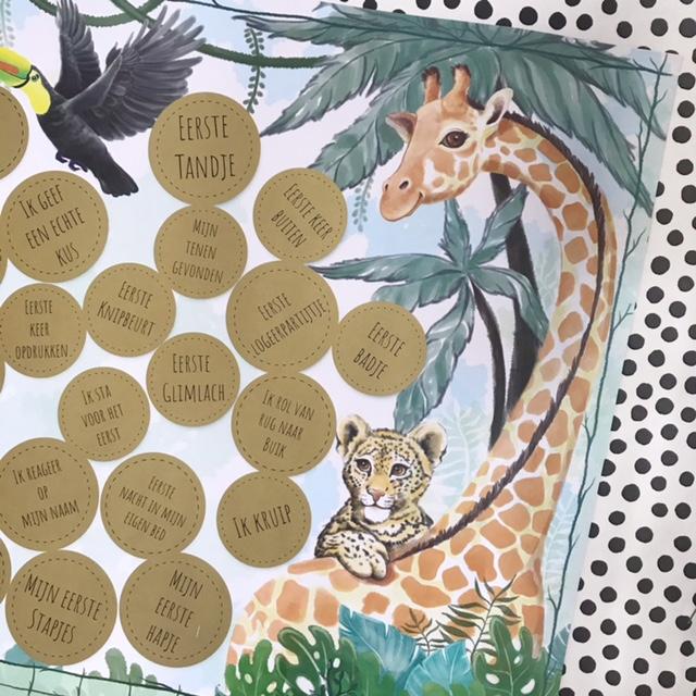 milestone krasposter jungle green origneel kraamcadeau