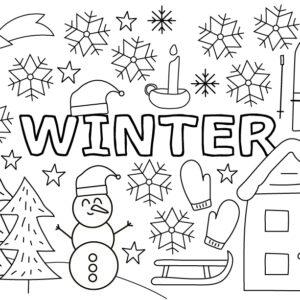 winter kleurplaat knutselpakket